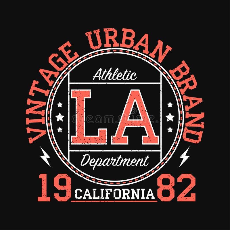 Gráfico urbano de la marca del vintage de Los Ángeles, California para la camiseta Diseño original de la ropa con grunge Tipograf ilustración del vector