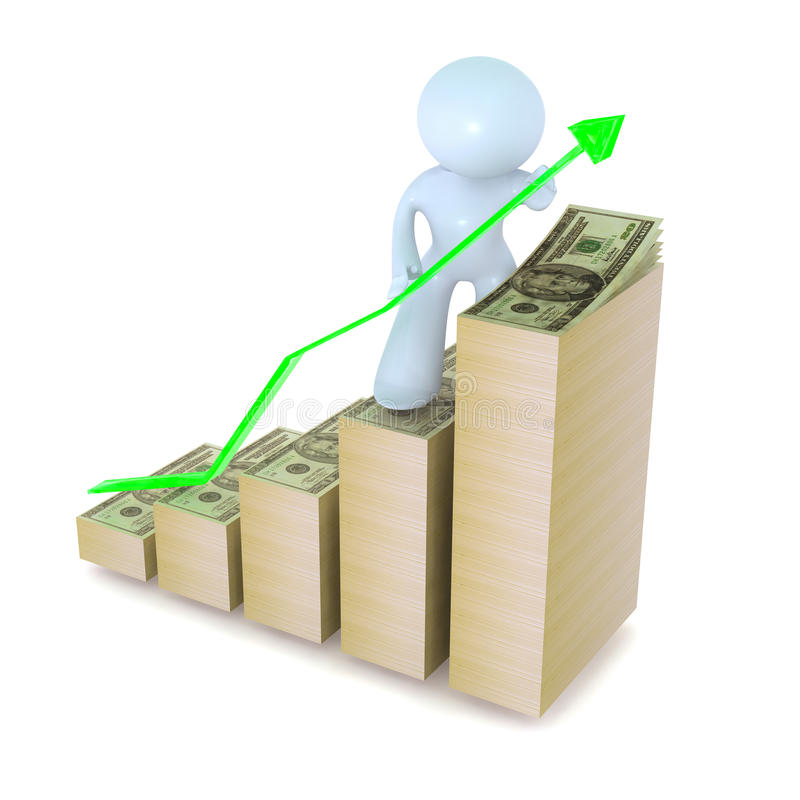 Gráfico verde del crecimiento con los dólares libre illustration