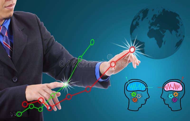 Gráfico verde del hombre de negocios y rojo conmovedor imagen de archivo