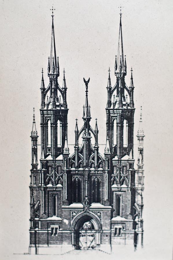 Gráfico viejo de la iglesia católica imágenes de archivo libres de regalías