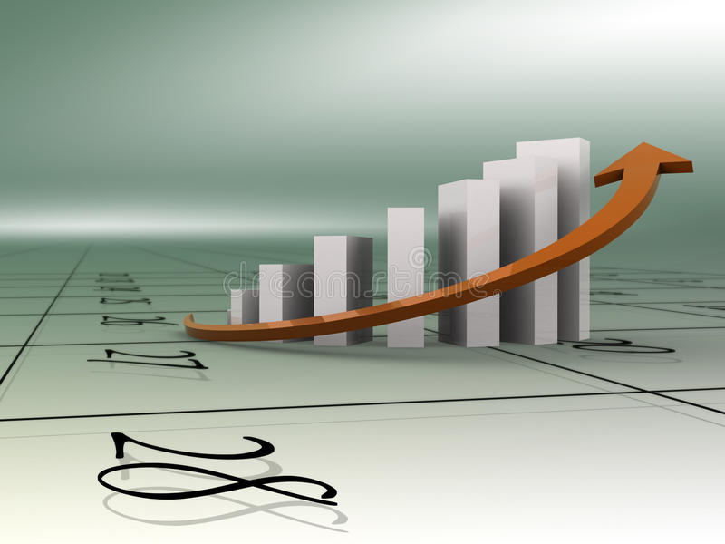 Gráfico y calendario de asunto stock de ilustración