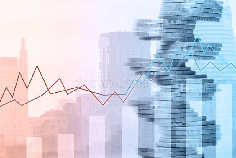 Gráfico y filas de monedas Concepto de la inversión financiera imagen de archivo