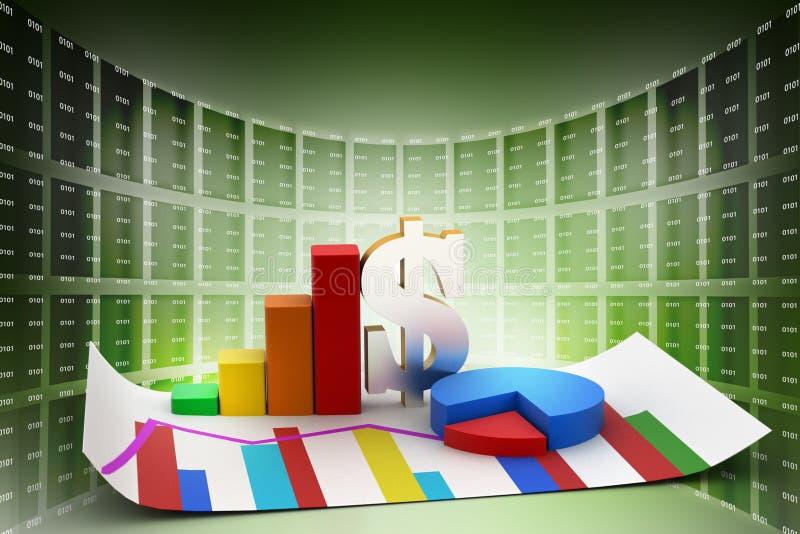 Gráfico y gráfico de sectores financieros con la muestra de dólar ilustración del vector