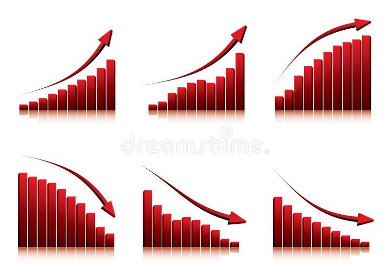 gráficos 3d que mostram a ascensão e a queda ilustração stock