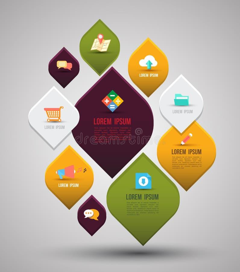 Gráficos abstractos de la información del negocio con la plantilla plana de los iconos ilustración del vector