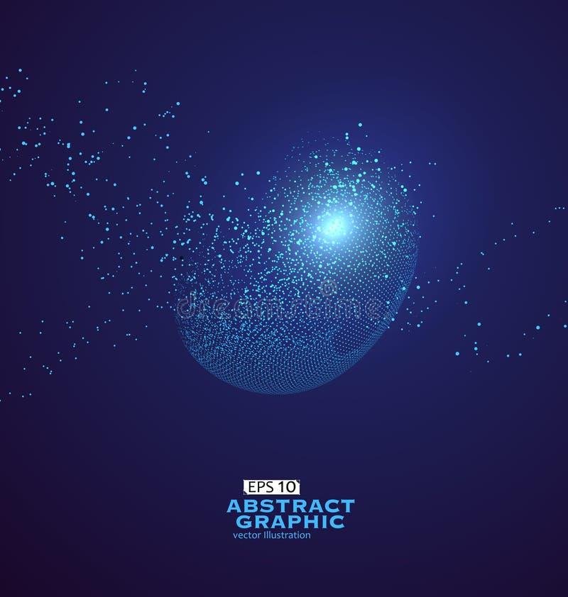 Gráficos abstratos da partícula, sentido da ilustração do technol ilustração stock