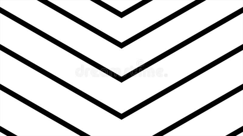 Gráficos abstratos do movimento do cgi e fundo animado com ângulo preto e branco movente Movimento alto do cgi da definição ilustração do vetor