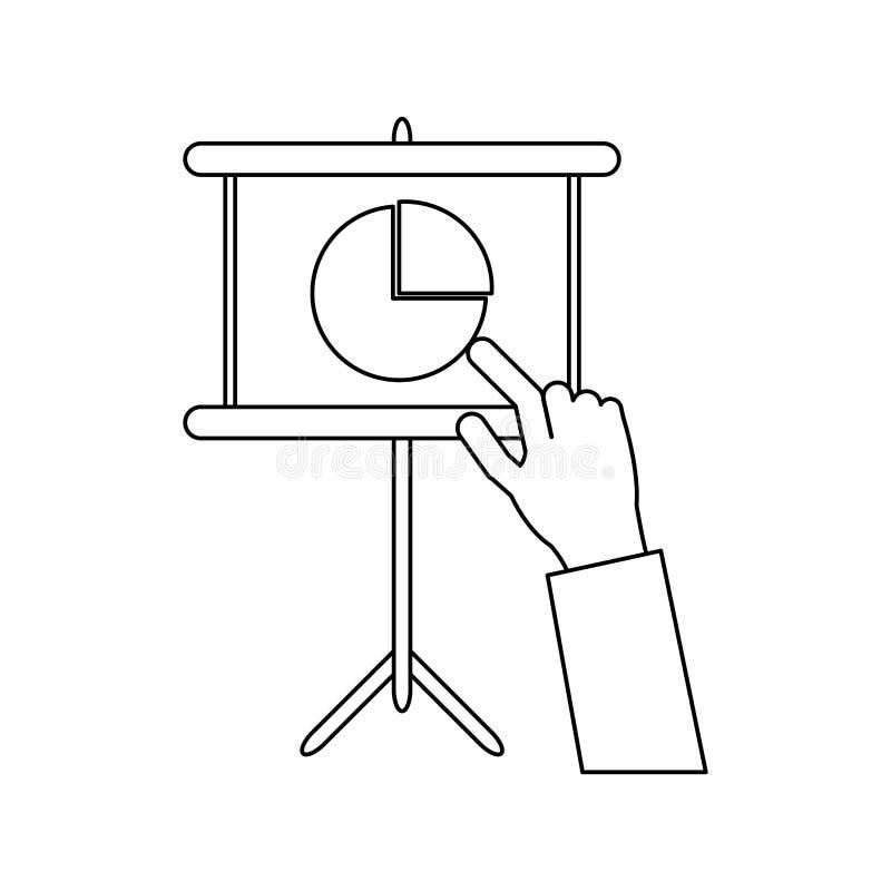 Gráficos apontando da mão do homem de negócios preto e branco ilustração do vetor