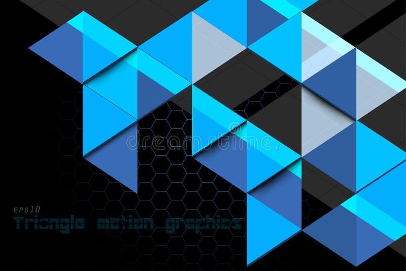 Gráficos azuis do movimento do conceito do triângulo ilustração do vetor