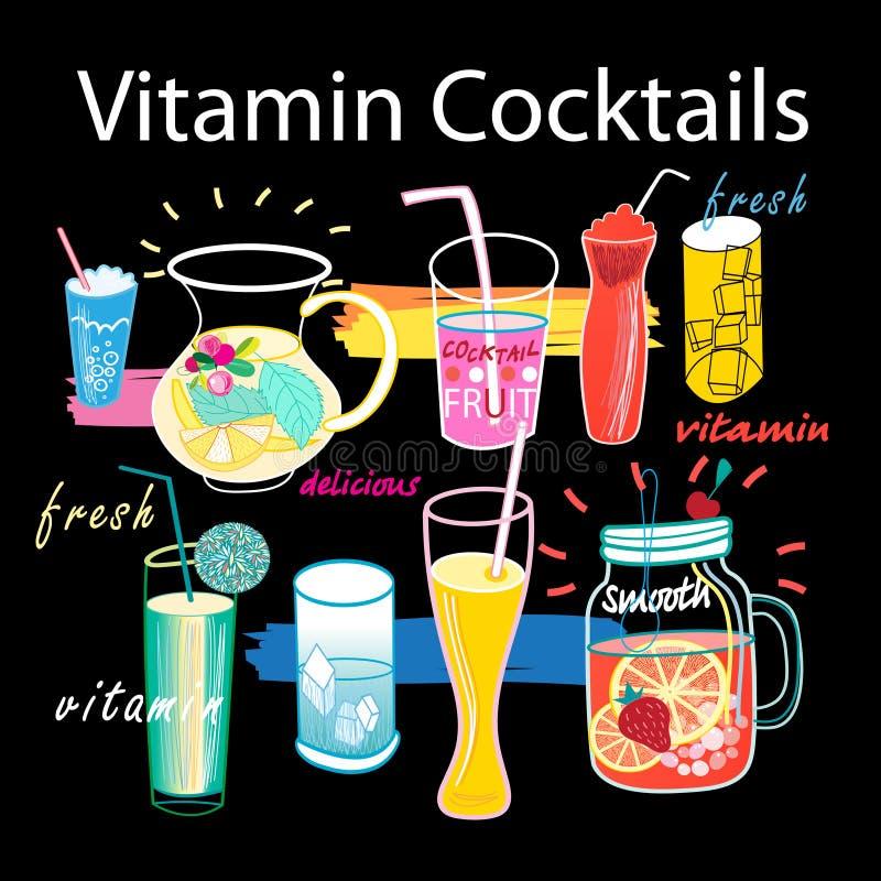 Gráficos bonitos ajustados de cocktail da vitamina ilustração do vetor