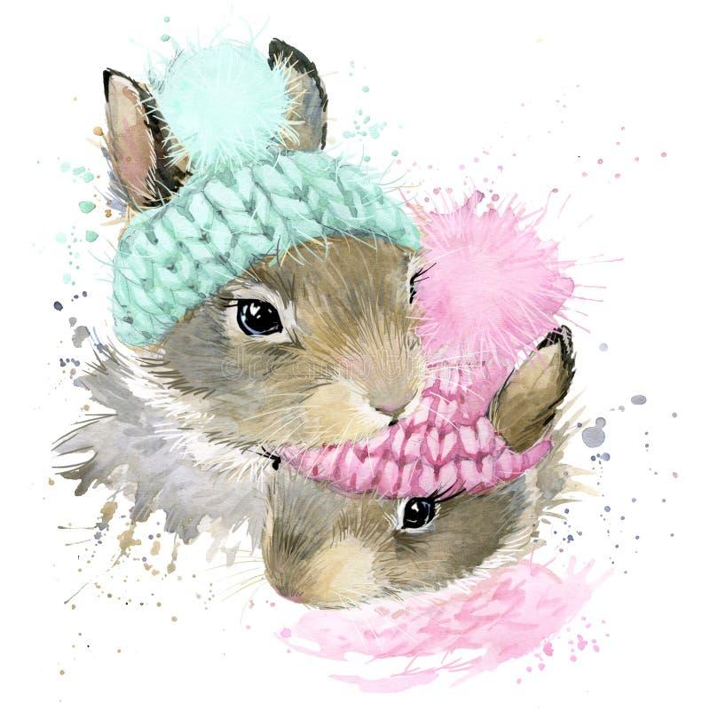Gráficos bonitos do t-shirt do coelho da floresta, coelho da aquarela ilustração stock