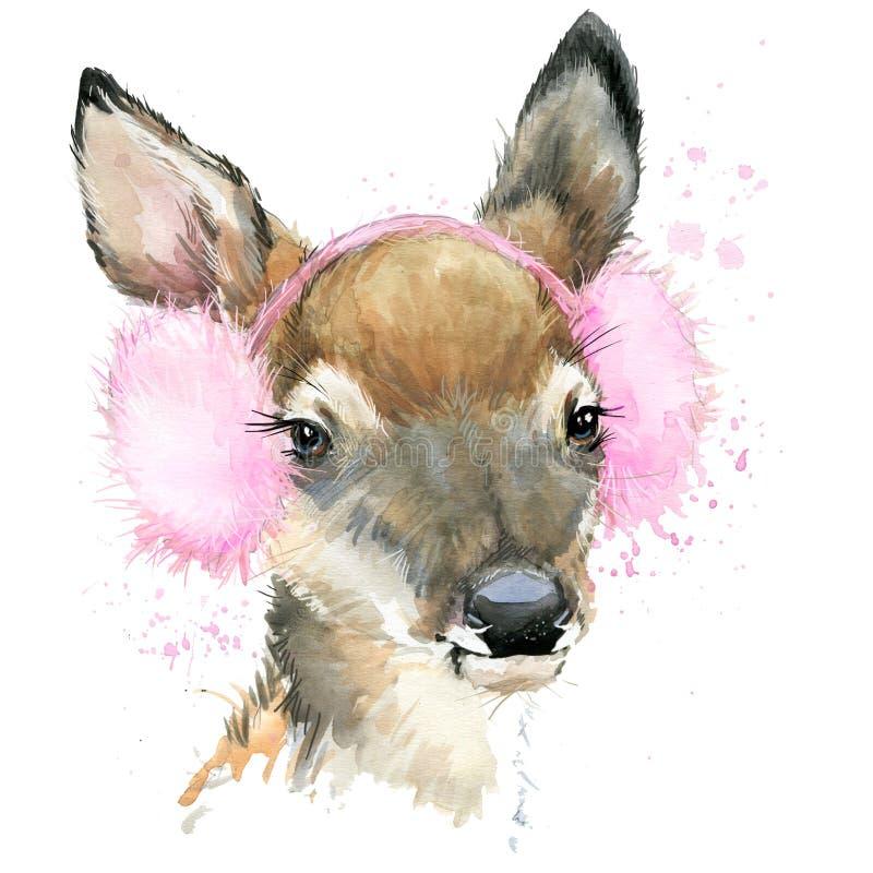 Gráficos bonitos do t-shirt dos cervos da floresta, ilustração dos cervos da aquarela ilustração royalty free