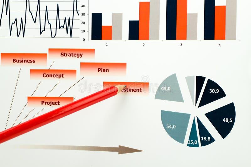 Gráficos, cartas, pesquisa de mercado e fundo coloridos do informe anual do negócio, projeto da gestão, planeamento do orçamento, imagens de stock
