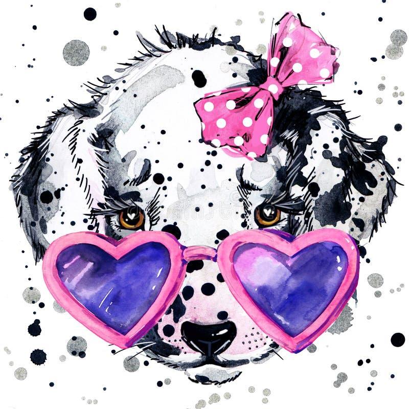 Gráficos dálmatas de la camiseta del perro de perrito El ejemplo del perro de perrito con la acuarela del chapoteo texturizó el f ilustración del vector