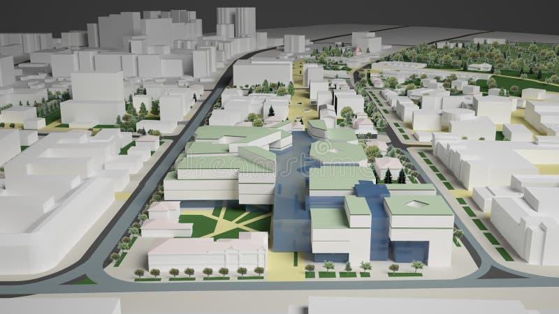 gráficos 3D del ambiente urbano cuarto ilustración del vector
