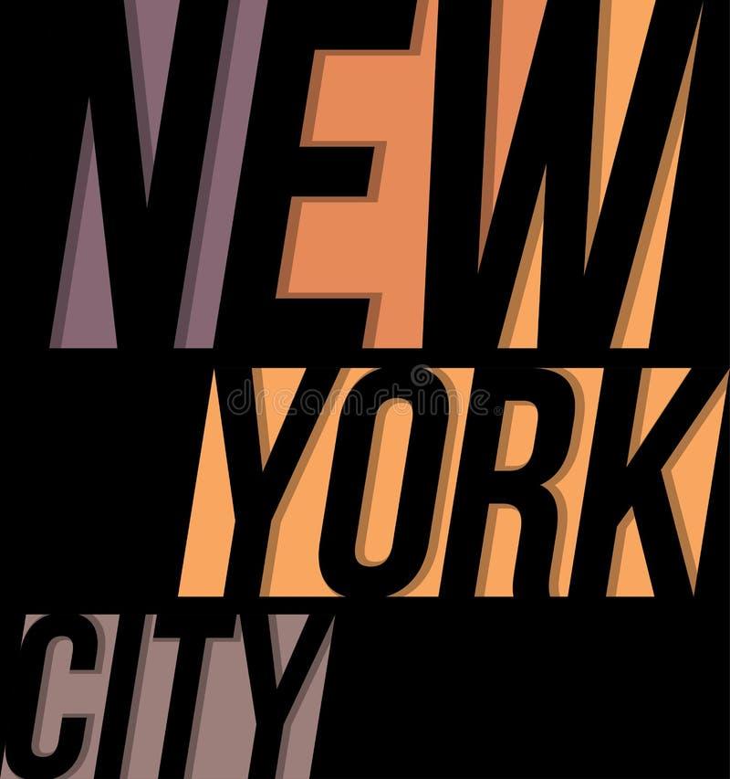 Gráficos da cópia da tipografia do projeto do T do t-shirt de New York City ilustração royalty free