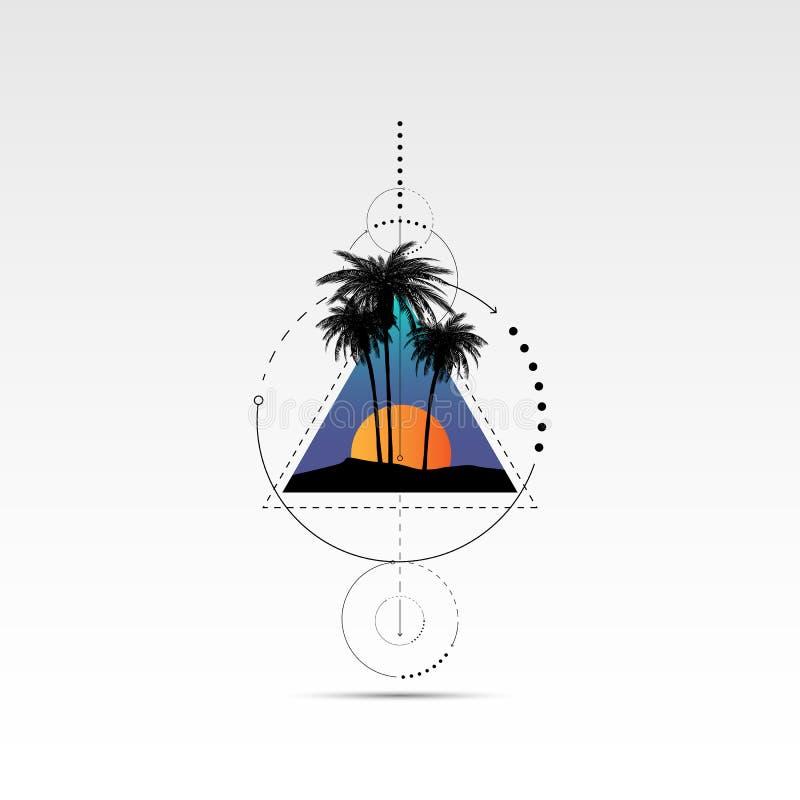 Gráficos da camisa de T, de cópia do vetor projeto, tipografia de Califórnia e óculos de sol com palmeiras ilustração stock