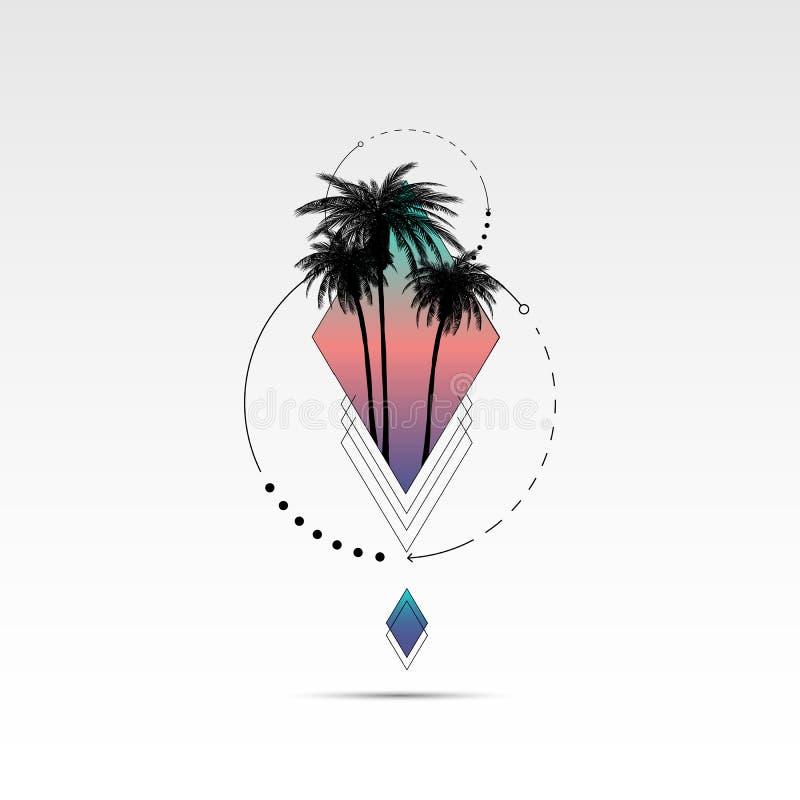 Gráficos da camisa de T, de cópia do vetor projeto, tipografia de Califórnia e óculos de sol com palmeiras ilustração royalty free