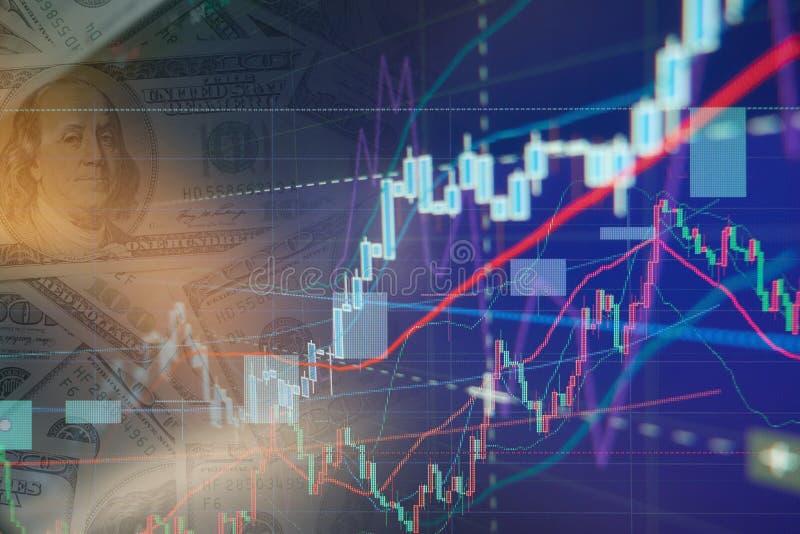 Gráficos da carta da bolsa de valores foto de stock royalty free