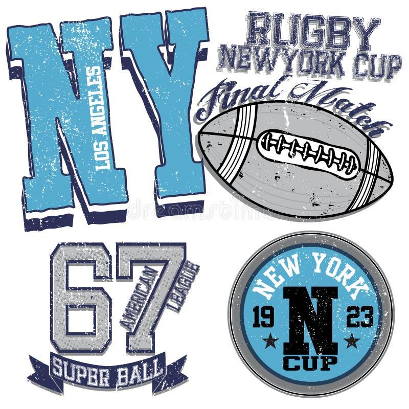 Gráficos da faculdade para o rugby de New York do t-shirt ilustração do vetor
