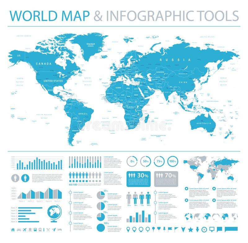 Gráficos da informação de vetor do mapa do mundo Ilustração detalhada do worldmap ilustração royalty free