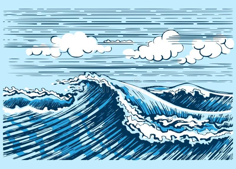 Gráficos da paisagem da onda do mar ilustração royalty free