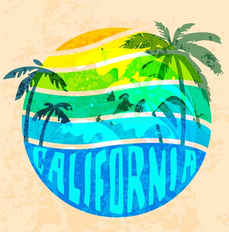 Gráficos da tipografia da praia de Califórnia Projeto FO da impressão do t-shirt ilustração do vetor
