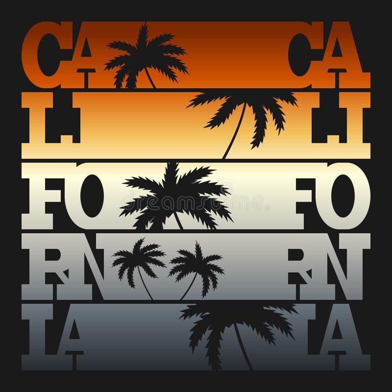 Gráficos da tipografia de Califórnia Projeto da forma do t-shirt ilustração do vetor