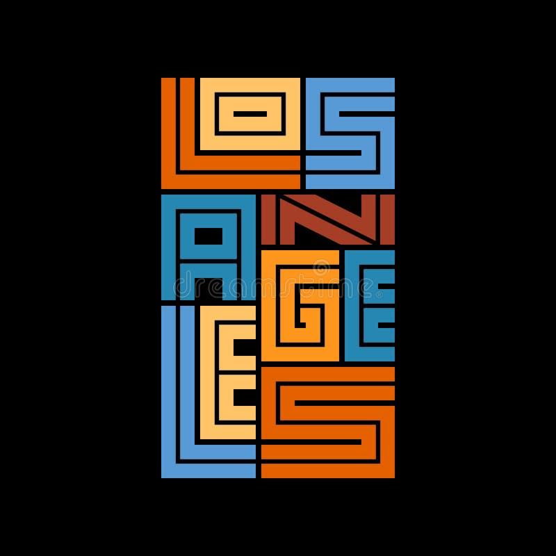 Gráficos da tipografia de Los Angeles Projeto da forma do t-shirt ilustração do vetor