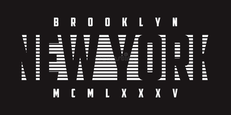 Gráficos da tipografia de New York para o t-shirt de b/w Cópia do t-shirt do slogan de Brooklyn Vetor ilustração do vetor