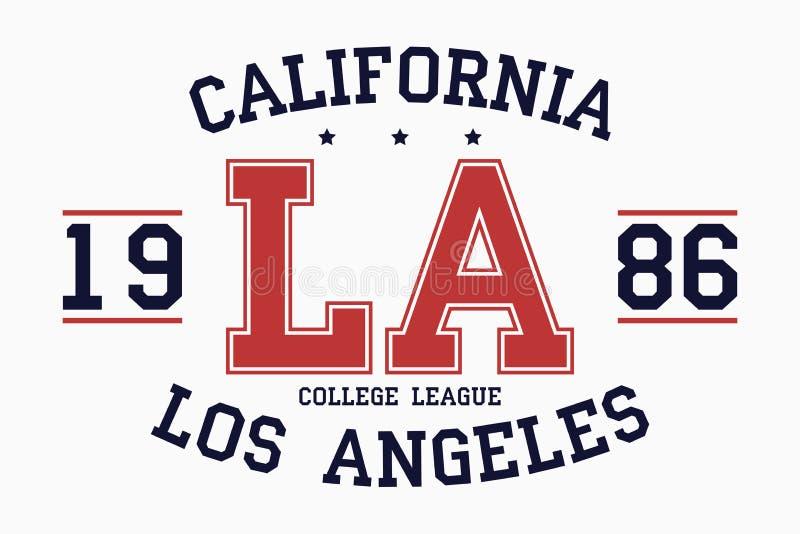 Gráficos da tipografia do slogan de Califórnia, Los Angeles para o t-shirt Cópia da faculdade para o fato Selo do LA do time do c ilustração stock