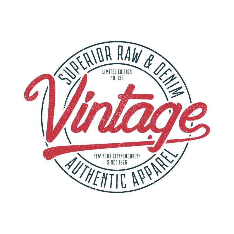 Gráficos da tipografia do vintage para o t-shirt Cópia original retro do t-shirt para tema de New York, Brooklyn Selo superior pa ilustração do vetor