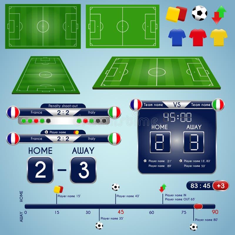 Gráficos da transmissão para o programa de esporte Molde das estatísticas do fósforo de futebol ilustração royalty free