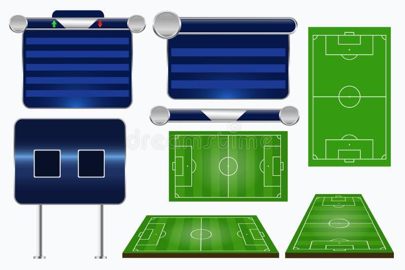 Gráficos da transmissão para o programa de esporte Molde do fósforo de futebol ilustração do vetor
