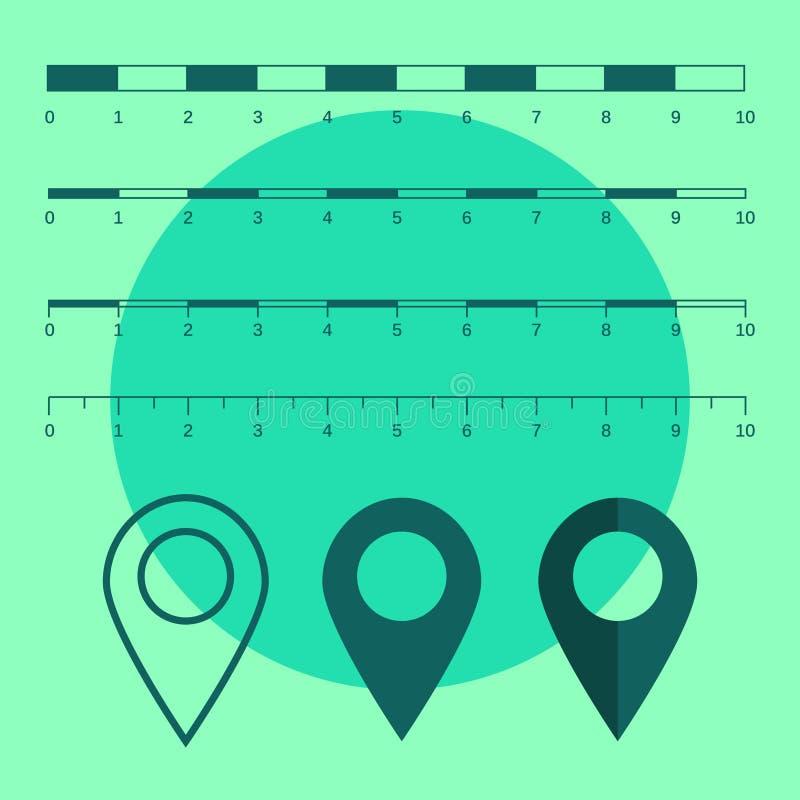 Gráficos das escalas de mapa para distâncias de medição Medida do mapa v da escala ilustração do vetor