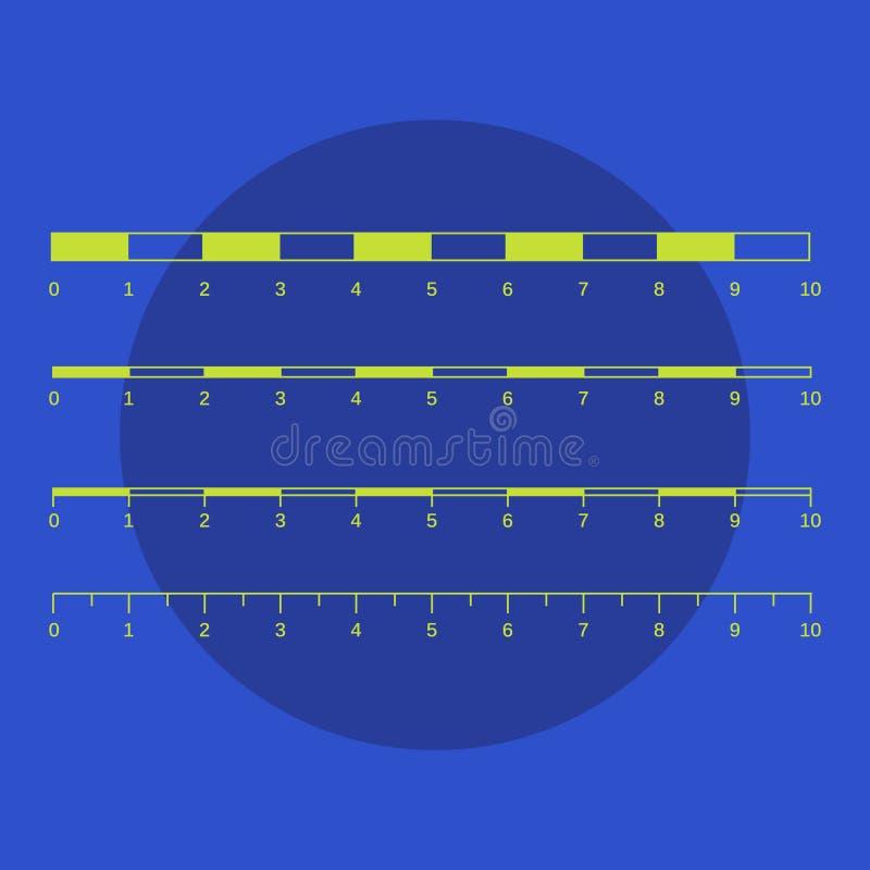 Gráficos das escalas de mapa para distâncias de medição Medida do mapa v da escala ilustração royalty free
