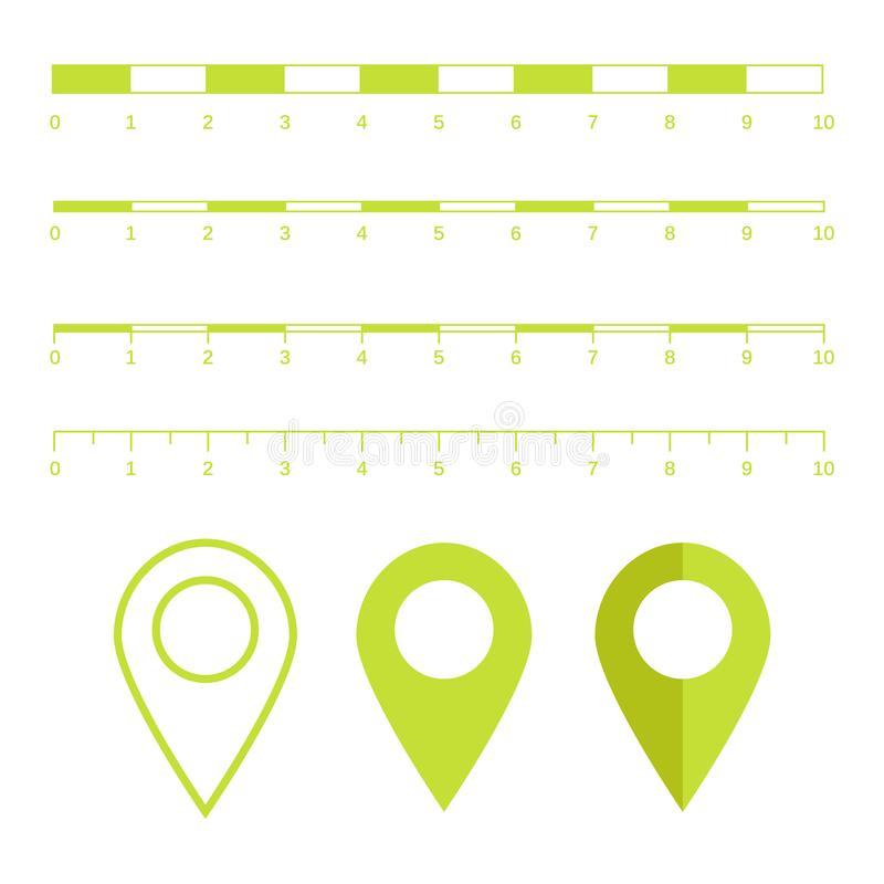 Gráficos das escalas de mapa para distâncias de medição Medida do mapa v da escala ilustração stock