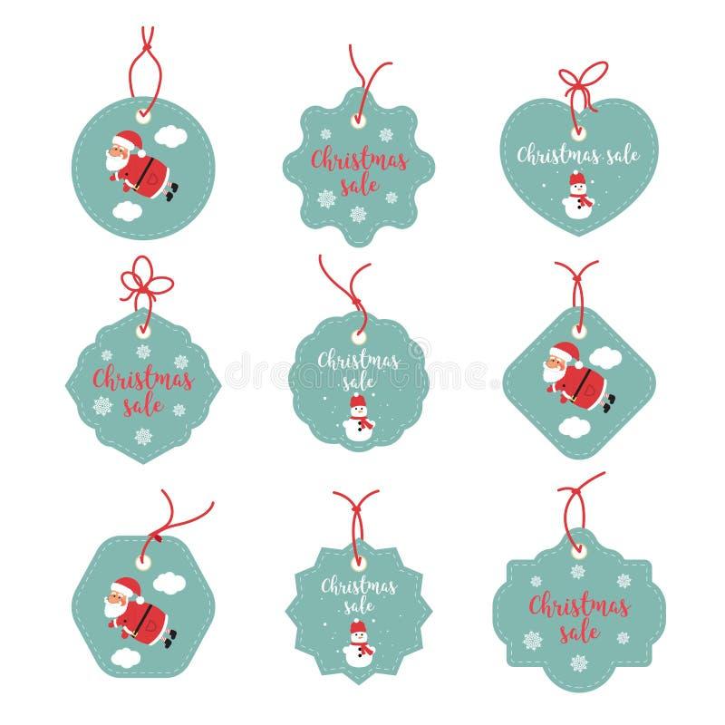 Gráficos das etiquetas da venda Etiquetas felizes do Feliz Natal Boas festas etiquetas do promo Santa Claus, flocos de neve, bone ilustração royalty free