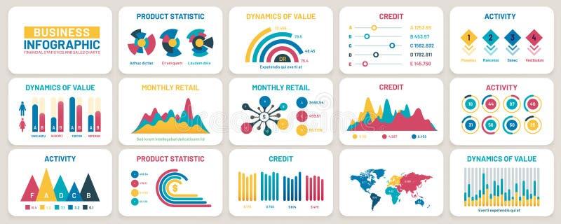 Gráficos de apresentação comercial Relatórios financeiros, gráficos de dados de marketing e conjunto de vetores de modelo infográ ilustração do vetor