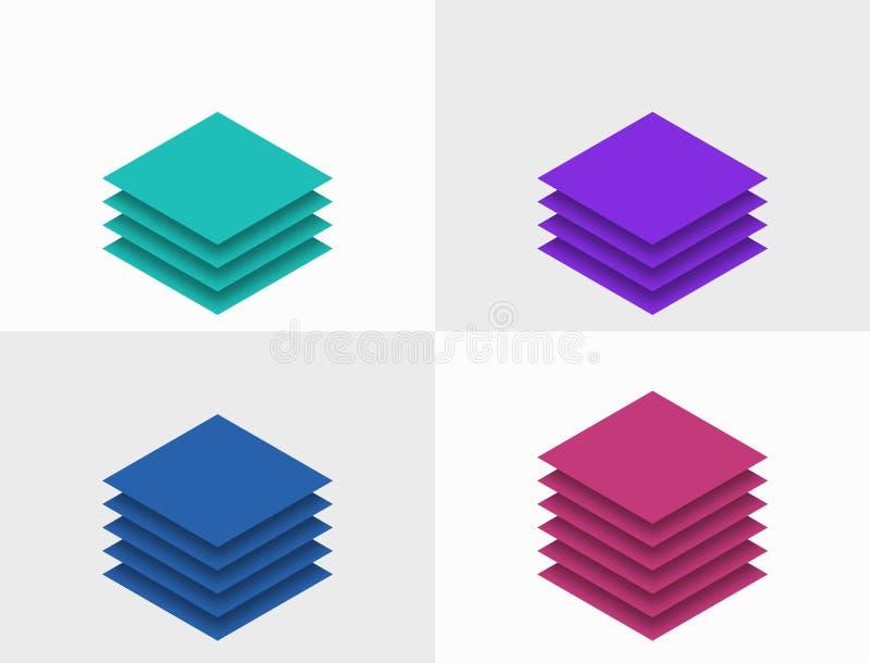 Gráficos gráficos de capas y pasos isométricos stock de ilustración