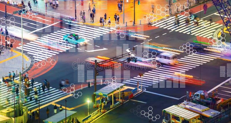 Gráficos de Digitas e grades do hexágono com interseção do tráfego de cidade ilustração royalty free