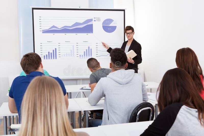 Gráficos de ensino do professor às estudantes universitário fotografia de stock