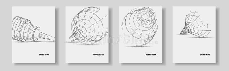 Gráficos de ingeniería del detalle del diseño de las cubiertas del vector plantilla 3d stock de ilustración