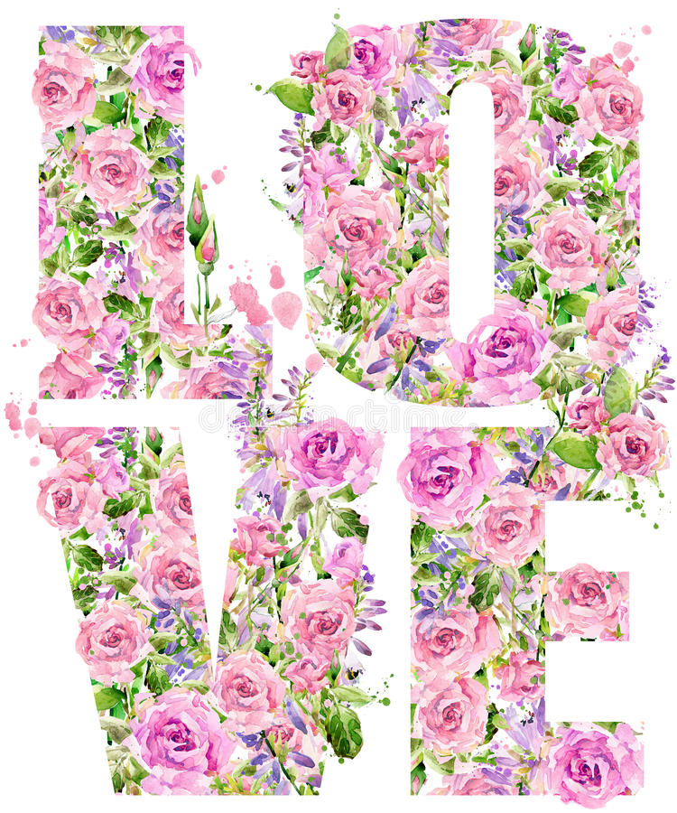 Gráficos de la camiseta Amor Acuarela de la flor de Rose stock de ilustración