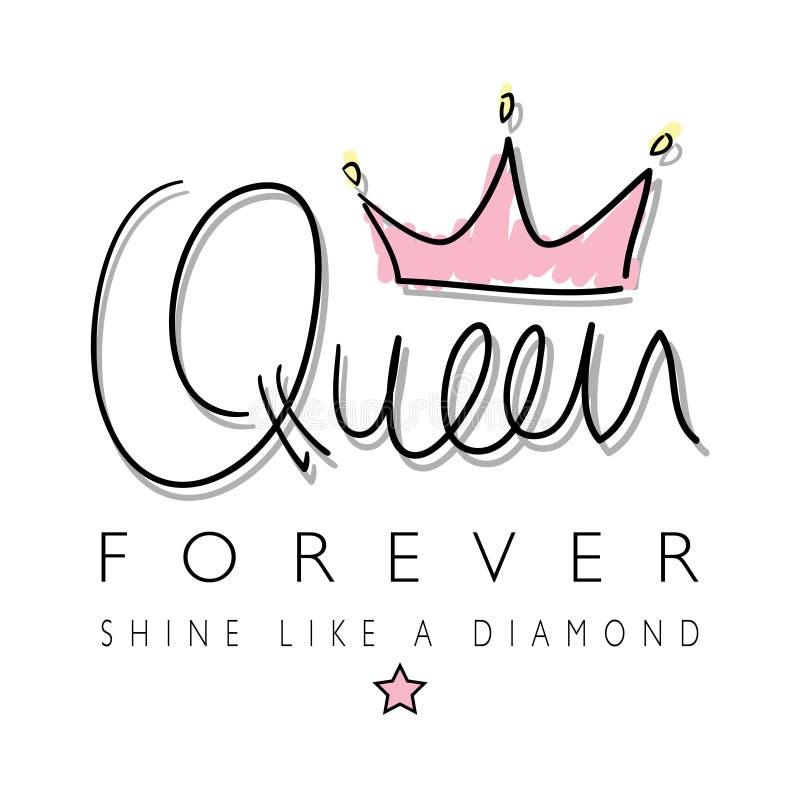 Gráficos de la camiseta de la corona de la reina ilustración del vector