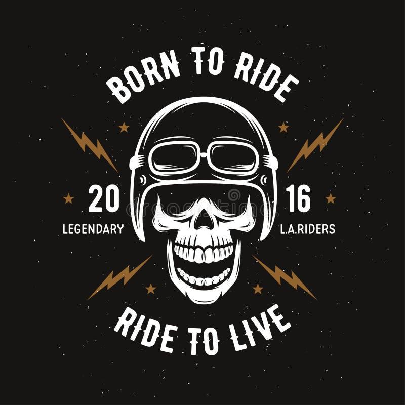 Gráficos de la camiseta de la motocicleta del vintage Llevado montar Paseo a vivir Ilustración del vector ilustración del vector