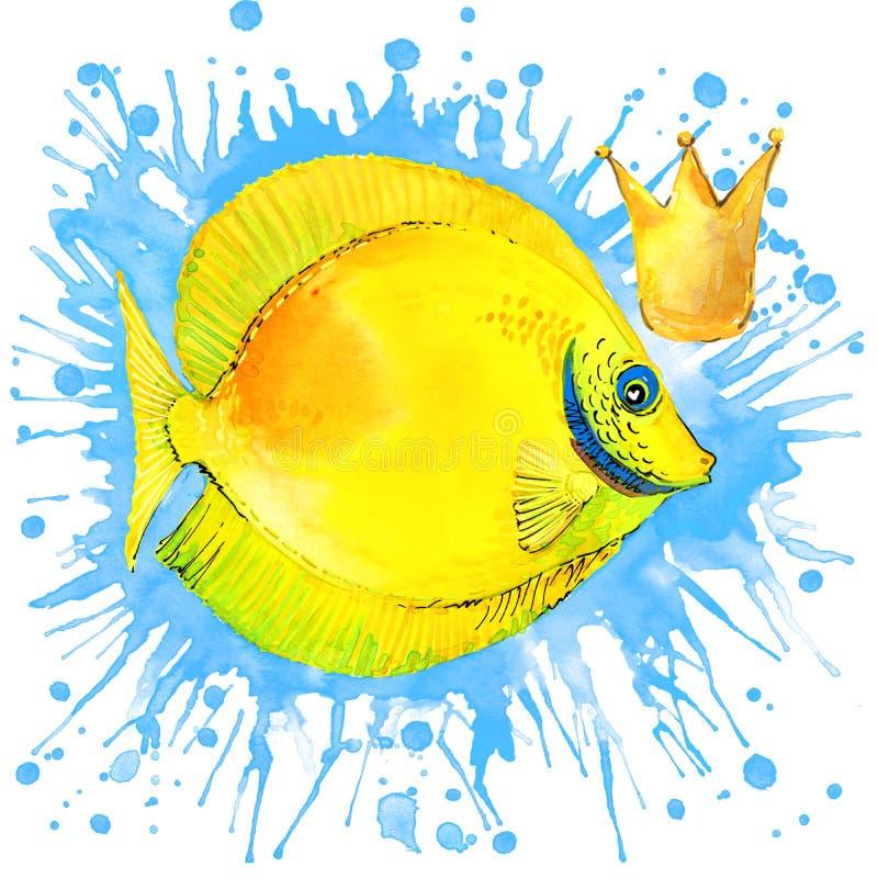 Gráficos de la camiseta de los pescados de mar el ejemplo de los pescados de mar con la acuarela del chapoteo texturizó el fondo  libre illustration