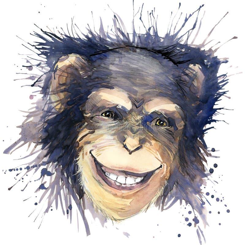Gráficos de la camiseta del chimpancé del mono ejemplo del chimpancé con el fondo texturizado acuarela del chapoteo agua inusual  ilustración del vector