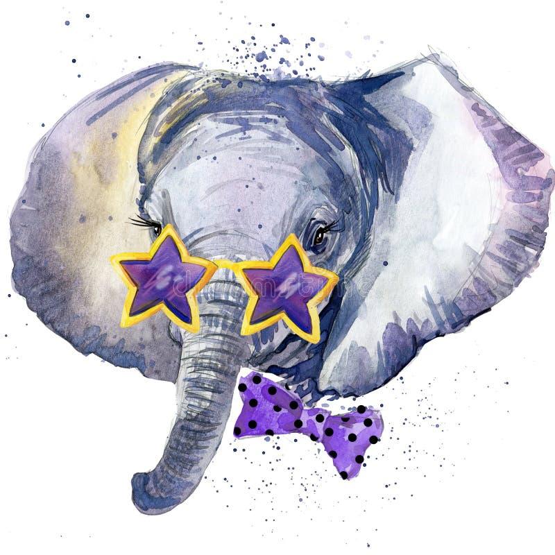 Gráficos de la camiseta del elefante de Lbaby el ejemplo del elefante del bebé con la acuarela del chapoteo texturizó el fondo wa stock de ilustración