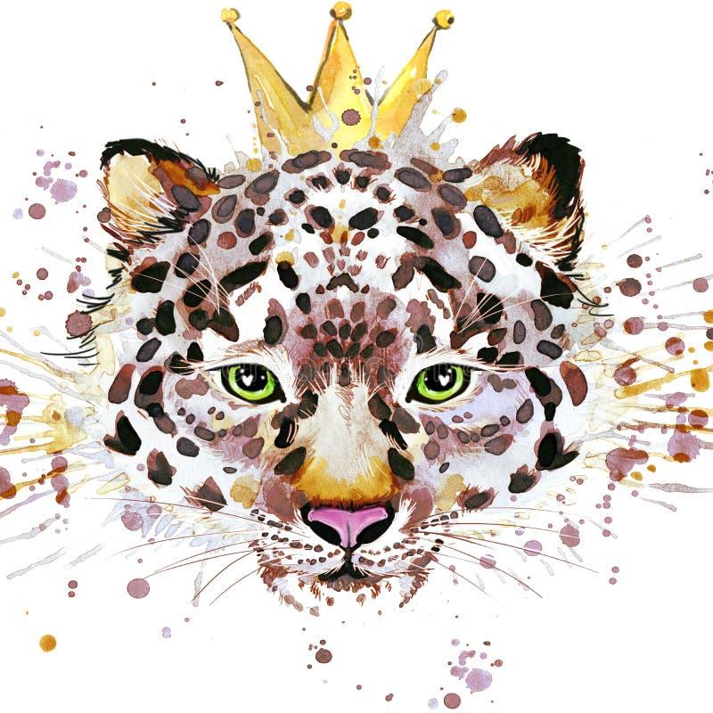 Gráficos de la camiseta del leopardo Ejemplo del leopardo con el fondo texturizado acuarela del chapoteo acuarela inusual del eje stock de ilustración